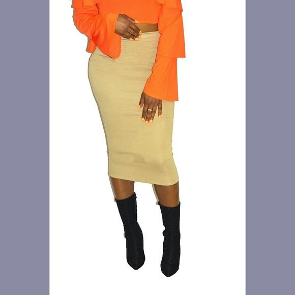 bzfashions Dresses & Skirts - Tan Ponte Knit Midi Pencil Skirt